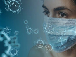 woman in mask with covid-19 virus overlay