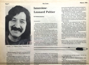 Leonard Peltier, March 1985